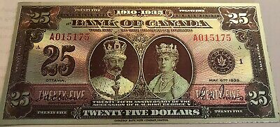 1935 Bank of Canada $25 banknote  polymer silver plated