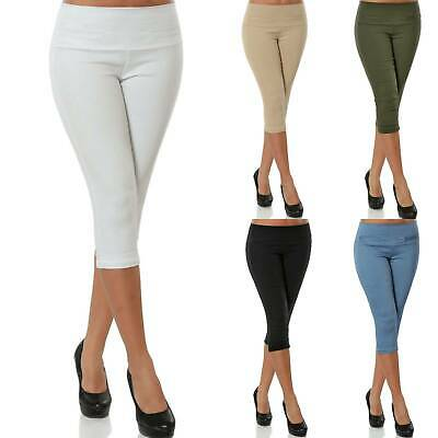 Womens Solid Stretchy 3/4 Length Leggings Gym Casual Fitness Activewear Pants