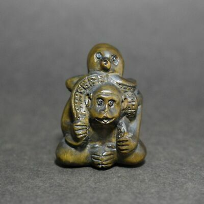 Wooden Monkey and Octopus Netsuke Japanese antique vintage Japan inro ojime Rare