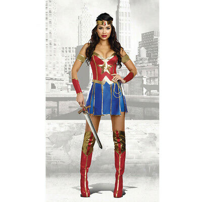 Ladies Sexy Supergirl Costume Superhero Halloween Adult 80s Fancy Dress Outfit