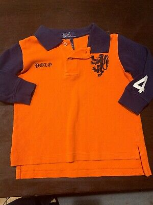Ralph Lauren Poli Toddler Boy Shirt Size 2/2T Orange Blue Longsleeve