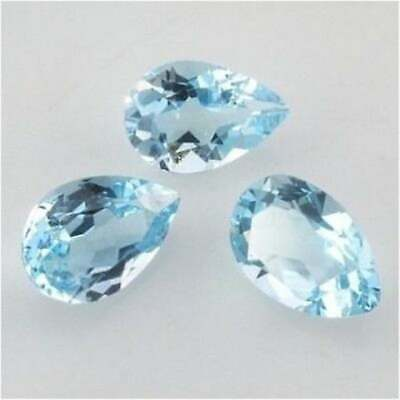 Lot Natural Sky Blue Topaz 8X10 mm Oval Faceted Cut Loose Gemstone AB01