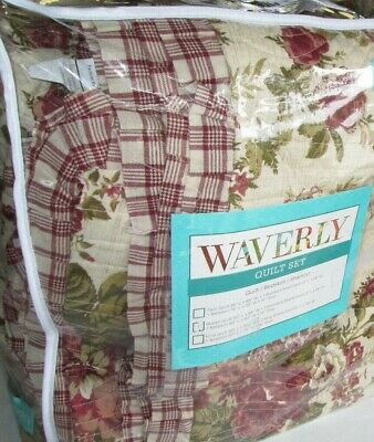 WAVERLY $240 Twin Quilt Set 3P FARMHOUSE RED CHECK floral roses