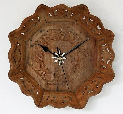 Vintage 22cm Wooden Wall Clock - Shabby Chic Country Retro Ornate Unique Gift
