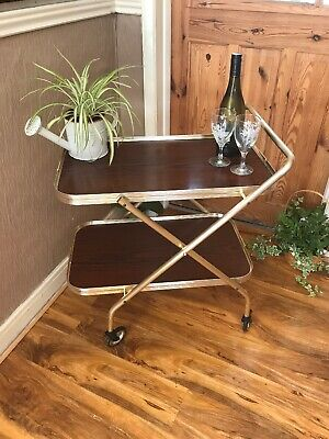 Vintage Retro 2 Tier Wood Effect Cocktail Drinks Tea Serving FOLDING Trolley