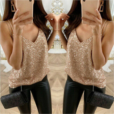 Women's Vest Top Ladies Sequin Tank Cami Sleeveless Party Evening Wear Plus Size