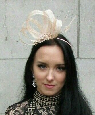 Light Peach Champagne Rose Gold Fascinator Feather Sinamay Wedding Races 7448