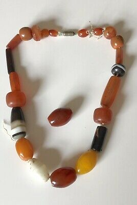 Art Deco Banded Agate, Butterscotch Amber & Bauxite Trade Beads Necklace
