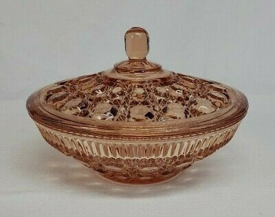 Vintage Indiana WINDSOR Pink Depression Glass CANDY BOX Dish w Lid / Cover MINT