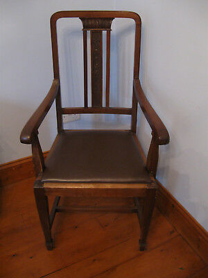 Antique Carver Chair Mahogany with Leather Seat and Carved Back Panel Throne LGE