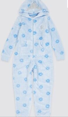 BNWT M&S Christmas Frozen Elsa Hooded All in One Pyjamas Sizes 8-9 Years