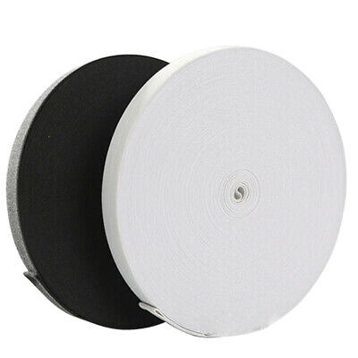 Flat Wide Black or White Strong Elastic Sewing Dressmaking Various Size 40meters