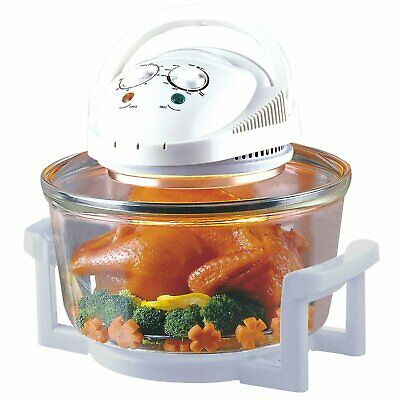 OVEN 12 Litre Premium 1300W White Halogen Oven Cooker + FREE High Rack, Low Rack