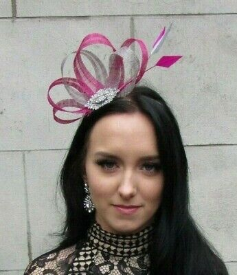 Grey Fuchsia Hot Pink Silver Fascinator Feather Sinamay Hair Ladies Day 7467