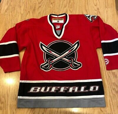 cheaper 3d35a fac53 BUFFALO SABRES SATAN Crossing Swords Vintage Koho Red Alt ...
