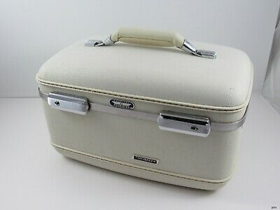 Vintage 1960's American Tourister Tri Taper Train Makeup Cosmetic Case : Ivory
