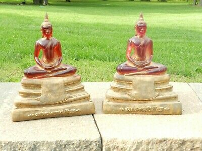 Vtg Mcm Red Lucite Chalkware Plaster Bookend Statues Buddha Art Deco Sculpture