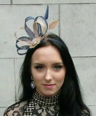 Nude Navy Blue Gold Sinamay Feather Hair Fascinator Races Beige Wedding 7468