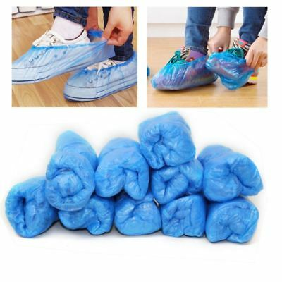 100pcs Disposable Plastic Shoe Covers Carpet Cleaning Overshoes Blue