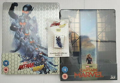 Ant-Man and Wasp 3D+Blu-ray+MAGNET /Captain Marvel 3D Region-Free U.K STEELBOOKS