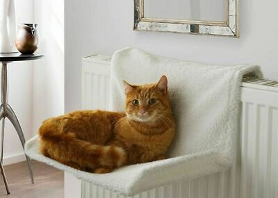 Luxury Cream Comfy Radiator Cat Kitten Bed Warm Heated Basket Snug Hammock Pet