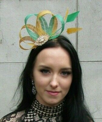 Emerald Green Mustard Yellow Gold Sinamay Feather Hair Fascinator Wedding 7480