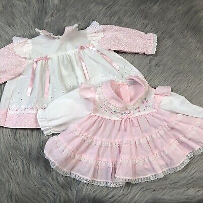 Vintage Bundle 2 Baby Girls Pink White Floral Lace Ruffle Dresses
