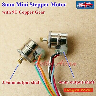 Micro Stepper Stepping Motor 2-phase 4-wires 8mm with 9T Metal Copper Gear #M72