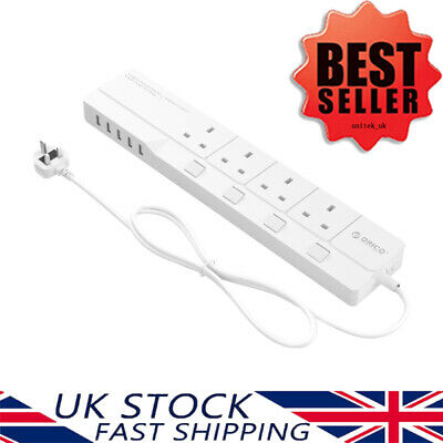 ORICO 4 Way Gang Switched Extension Lead UK Plug with 5 x 2.4A USB Charging Port