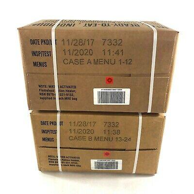 US Military MRE Cases A & B, Meal Ready To Eat, INSP 2020, Camping Hiking USGI