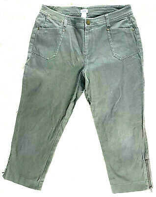 Cache Women's Size 8 Side Zip Cropped Pants Cargo Style Army Green