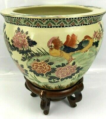 Antique / Vintage Hand Painted Decorated Ceramic Chinese Plant Pot Wooden Base