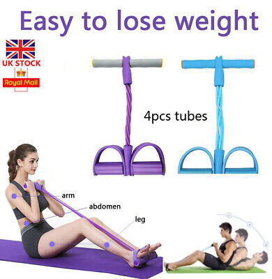 Foot Pedal 4-Tube Pull Rope Resistance Yoga Exercise Sit-up Fitness Equipment UK