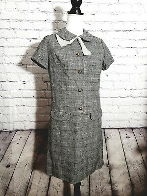 Vintage 1950s Mid Century Gray White Houndstooth Shift Dress Jeune Leigue By...