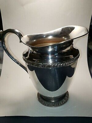 """Vintage Wm Rogers Silver Plated 3617 Avon Pattern Water Pitcher 8"""" tall, 6"""" dia."""