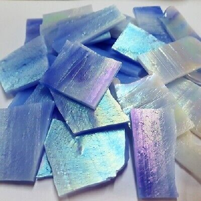 Stained Glass Pieces - 200grams - Iridsied Pale Blue