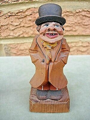 "Antique Bavarian / Black Forest Wooden Hand Carved & Painted Figure ""City Gent"""