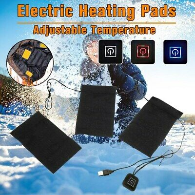 3pcs 5V 2A Waterproof Electric Heating Pads Thermal Vest Heated Warming Gear  D