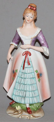 Vintage European Hand Painted Bisque Porcelain Woman In Victorian Dress Figurine