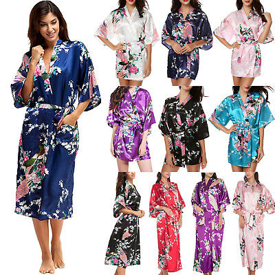 Women's Peacock Floral Satin Kimono Robe Dressing Gown Wedding Bridal Bridesmaid
