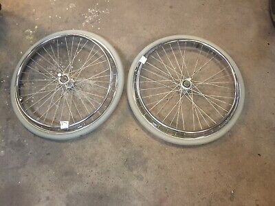 """A Pair Of  Invacare Action  24 """" Wheelchair Wheels With White Tyres  +Push Rim"""