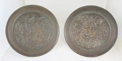Pair of Ancient Stands Centerpieces Dishes Bronze Style Eclectic G20