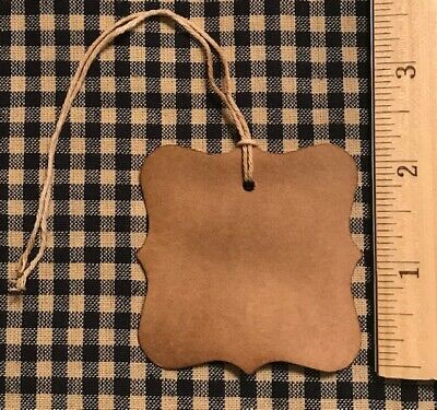 100 Primitive Coffee Stained FANCY EDGES LARGE SQUARE gift Hang Tags Price lot