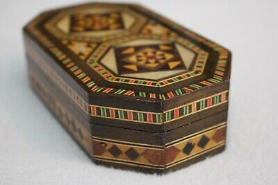 Antique Vintage Wooden Box Geometric Pattern Inlaid Velvet Lined Middle Eastern