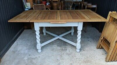 Solid Oak Antique Barley Twist Draw Leaf Table