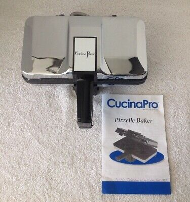 CucinaPro Pizzelle Baker Chrome/ Black Nonstick Model 220-05NS Clean VGC