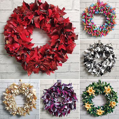"Handmade Rag Wreath | Choose Colour 8-12"" Diameter with bows beads or flowers"