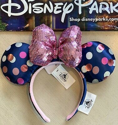 Disney Parks Minnie Mouse Ears Headband Navy Blue Polka Dot Pink Sequin Bow NEW