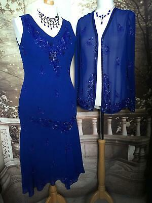 Long Dress/Ballgown and Jacket/Shrug 16 Beaded/Sequin Deco 1920's Gatsby Flapper