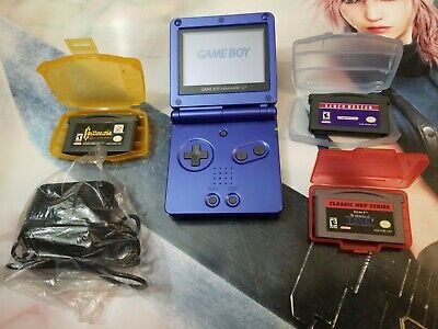 Nintendo Game Boy Advance SP AGS-001 Handheld System GBA/ Charger/ 3 Games